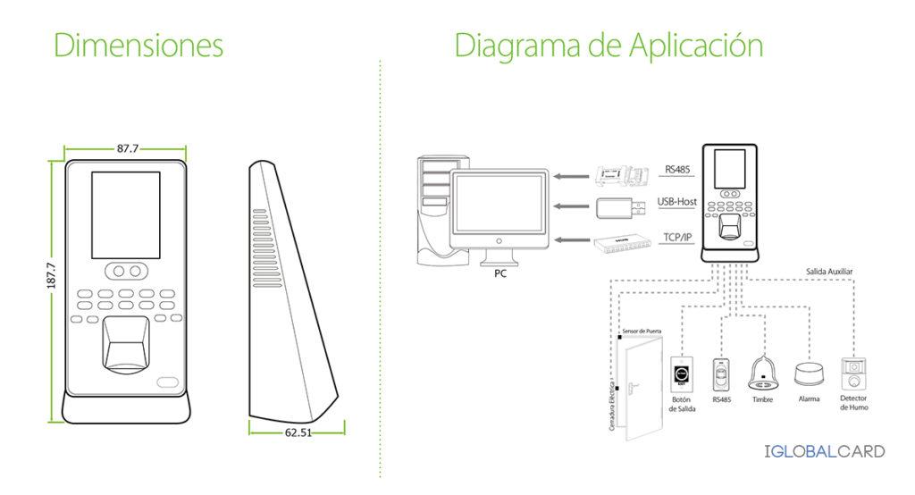Dimensiones del terminal de control de acceso facial IgloFace 1602