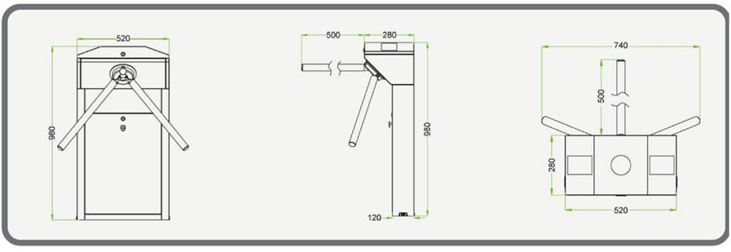 Dimensiones del modelo de tornos de control de acceso EMLC