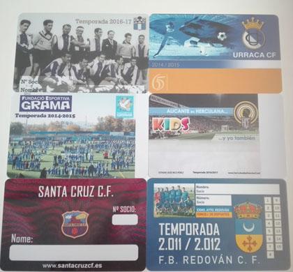 Fabricación de carnets de socios para clubs deportivos