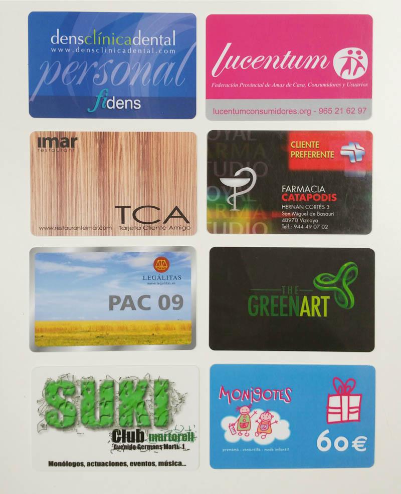 Ejemplos de tarjetas de pvc de fidelización de clientes